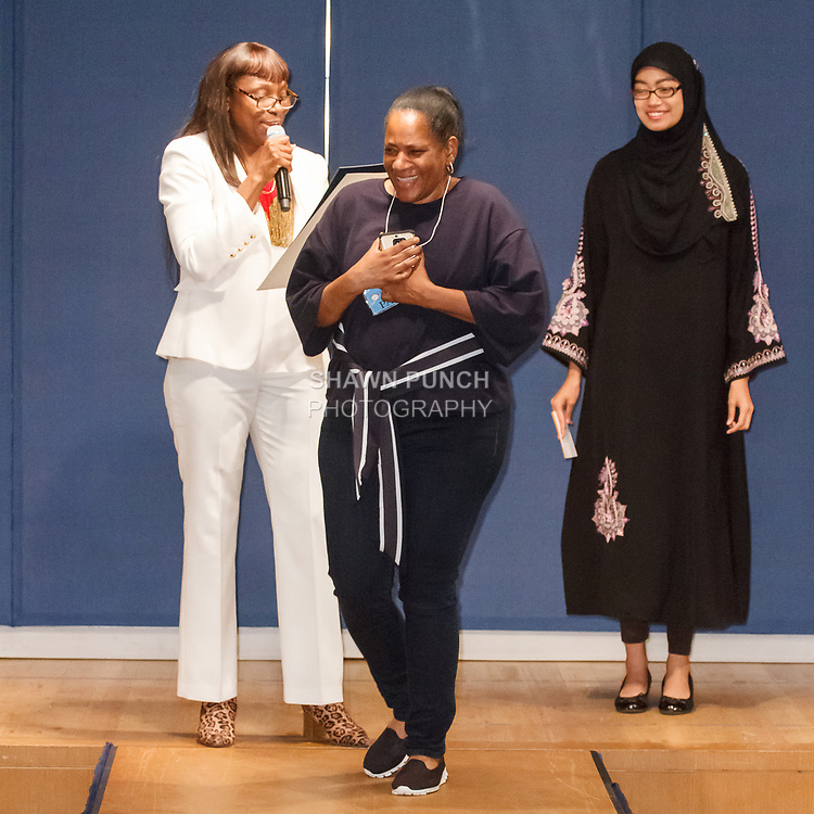 Ms. Kendall Overton - Founder receives a Citation from the Brooklyn Borough President's Office, during the Teachers Rock The Runway fashion show presented by the United Federation of Teachers, at 52 Broadway in New York City, on May 31st 2018.