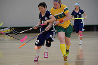 Japan&rsquo;s Yuki Takahashi and Australia&rsquo;s Tara Meyer in action during the World Floorball Championships 2017 Qualification for Asia Oceania Region Final - Australia v Japan at ASB Sports Centre , Wellington, New Zealand on Sunday 5 February 2017.<br /> Photo by Masanori Udagawa<br /> www.photowellington.photoshelter.com.