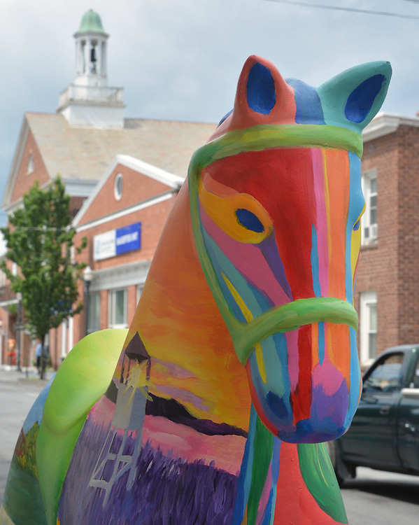 """A view of """"What We Treasure"""" created by artist, Victoria Jean Clifford, one of the """"Rockin' Around Saugerties"""" theme Statues on display throughout the Village of Saugerties, NY, on Sunday, June 4, 2017. Photo by Jim Peppler. Copyright/Jim Peppler-2017."""