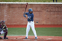 Justin Guy (1) of the Wingate Bulldogs at bat against the Concord Mountain Lions at Ron Christopher Stadium on February 1, 2020 in Wingate, North Carolina. The Bulldogs defeated the Mountain Lions 8-0 in game one of a doubleheader. (Brian Westerholt/Four Seam Images)
