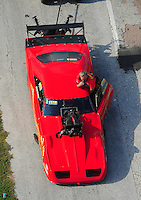 Apr. 28, 2012; Baytown, TX, USA: Aerial view of NHRA pro mod driver Peter Farber during qualifying for the Spring Nationals at Royal Purple Raceway. Mandatory Credit: Mark J. Rebilas-