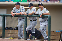 (L-R) West Michigan Whitecaps hitting coach Mike Hessman (27), manager Mike Rabelo (58), and pitching coach Jorge Cordova (40) watch the action from the top step of the dugout during the game against the Dayton Dragons at Fifth Third Field on May 29, 2017 in Dayton, Ohio.  The Dragons defeated the Whitecaps 4-2.  (Brian Westerholt/Four Seam Images)
