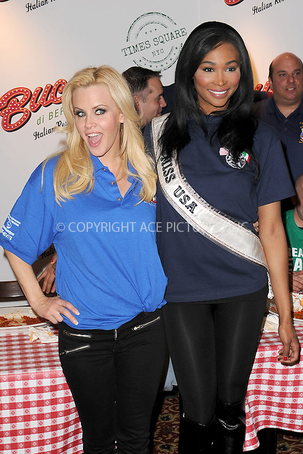 WWW.ACEPIXS.COM . . . . . .March 20, 2013...New York City....Jenny McCarthy and Miss USA 2012 Nana Meriwether attend the Ravioli Day pasta eating contest at Buca Di Beppo in Times Square on March 20, 2013 in New York City ....Please byline: KRISTIN CALLAHAN - ACEPIXS.COM.. . . . . . ..Ace Pictures, Inc: ..tel: (212) 243 8787 or (646) 769 0430..e-mail: info@acepixs.com..web: http://www.acepixs.com .