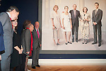King Juan Carlos I of Spain attends a painting exhibition with painter Antonio Lopez at Palacio Real in Madrid, Spain. November 03, 2014. (ALTERPHOTOS/Victor Blanco)