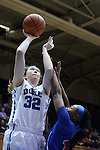 19 December 2014: Duke's Erin Mathias (32) shoots over UMass Lowell's Shannon Samuels (13). The Duke University Blue Devils hosted the University of Massachusetts Lowell River Hawks at Cameron Indoor Stadium in Durham, North Carolina in a 2014-15 NCAA Division I Women's Basketball game. Duke won the game 95-48.