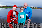 Pascal Boylan, Brian Shanahan, Caoimhe Shanahan ready for a run for fun at the Santa Fun run in memory of Fiona Moore, in the Tralee Bay Wetlands on Sunday