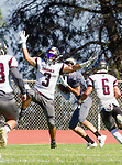 Palos Verdes, CA 09-07-18 - Ozzy Carranza (Torrance #3), Eric Suarez (Torrance #6) and Chris Jarrin (Peninsula #15) in action during the Torrance - Palos Verdes Peninsula Varsity football game.