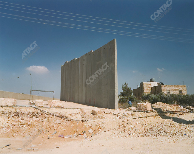 Recently completed wall sections, Bethlehem, West Bank, Israel, July 2004