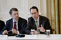 AT&amp;T Senior Executive Randall Stephenson (R) speaks as Peter Barris, Managing General Partner, New Enterprise Associates  looks on during the American Leadership in Emerging Technology Event in the East Room of the White House in Washington, DC, on June 22, 2017. <br /> Credit: Olivier Douliery / Pool via CNP /MediaPunch