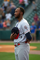 Louisville Bats pitcher Amir Garrett (25) during the national anthem before a game against the Buffalo Bisons on June 20, 2016 at Coca-Cola Field in Buffalo, New York.  Louisville defeated Buffalo 4-1.  (Mike Janes/Four Seam Images)