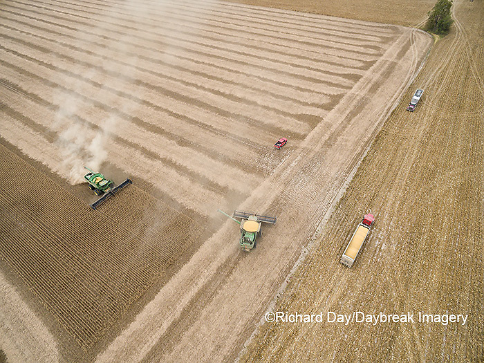 63801-09008 Soybean Harvest, 2 John Deere combines harvesting soybeans - aerial - Marion Co. IL