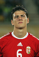 Hungary's Zsolt Korcsmar (6) stands on the field before the match against Italy during the FIFA Under 20 World Cup Quarter-final match at the Mubarak Stadium  in Suez, Egypt, on October 09, 2009. Hungary won 2-3 in overtime.