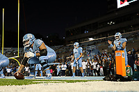 CHAPEL HILL, NC - NOVEMBER 02: Brian Anderson #68 and Sam Howell #7 of the University of North Carolina practice snapping the ball during a game between University of Virginia and University of North Carolina at Kenan Memorial Stadium on November 02, 2019 in Chapel Hill, North Carolina.