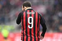 Gonzalo Higuain of AC Milan reacts during the Serie A 2018/2019 football match between AC Milan and ACF Fiorentina at stadio Giuseppe Meazza in San Siro, Milano, December 22, 2018 <br />  Foto Matteo Gribaudi / Insidefoto