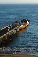 California, Santa Cruz County, Aptos, Pier and sunken ship
