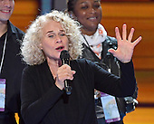 """Carole King rehearses """"You've Got a Friend"""" prior to the start of the fourth session of the 2016 Democratic National Convention at the Wells Fargo Center in Philadelphia, Pennsylvania on Thursday, July 28, 2016.<br /> Credit: Ron Sachs / CNP<br /> (RESTRICTION: NO New York or New Jersey Newspapers or newspapers within a 75 mile radius of New York City)"""