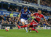5th November 2017, Goodison Park, Liverpool, England; EPL Premier League Football, Everton versus Watford; Richarlison of Watford wins a challenge against Jonjoe Kenny of Everton