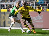 18th March 2018, Dortmund, Germany;  Football Bundesliga, Borussia Dortmund versus Hannover 96 at the Signal Iduna Park. Dortmund's Lukasz Piszczek shields Felix Klaus of Hanover from the ball.