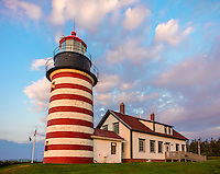 Lubec, Maine: West Quoddy Head Light at dawn with pink clouds