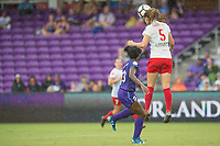 Orlando, FL - Saturday July 01, 2017: Jasmyne Spencer, Katie Naughton during a regular season National Women's Soccer League (NWSL) match between the Orlando Pride and the Chicago Red Stars at Orlando City Stadium.