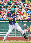 8 July 2014: Vermont Lake Monsters designated hitter Ryan Huck at bat against the Lowell Spinners at Centennial Field in Burlington, Vermont. The Lake Monsters rallied with two runs in the 9th to defeat the Spinners 5-4 in NY Penn League action. Mandatory Credit: Ed Wolfstein Photo *** RAW Image File Available ****
