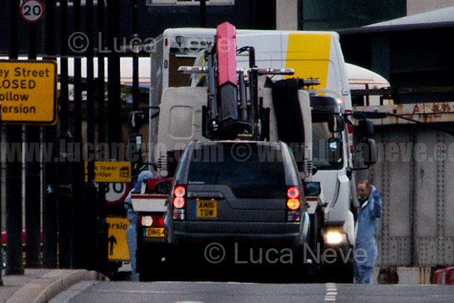 The van of the attackers is loaded on a track.<br />