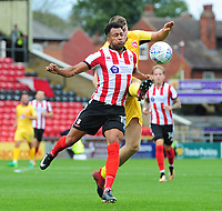 Lincoln City's Matt Green vies for possession with Morecambe's Sam Lavelle<br /> <br /> Photographer Chris Vaughan/CameraSport<br /> <br /> The EFL Sky Bet League Two - Lincoln City v Morecambe - Saturday August 12th 2017 - Sincil Bank - Lincoln<br /> <br /> World Copyright &copy; 2017 CameraSport. All rights reserved. 43 Linden Ave. Countesthorpe. Leicester. England. LE8 5PG - Tel: +44 (0) 116 277 4147 - admin@camerasport.com - www.camerasport.com