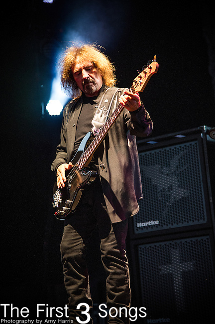 Geezer Butler of Black Sabbath performs at Klipsch Music Center in Indianapolis, Indiana.