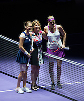 AGNIESZKA RADWANSKA (POL), PETRA KVITOVA (CZE), CHRISSIE EVERT<br /> <br /> WTA FINALS, SINGAPORE INDOOR STADIUM, SINGAPORE SPORTS HUB, SINGAPORE, 2015