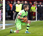 15.02.2020, Stadion an der Wuhlheide, Berlin, GER, 1.FBL, 1.FC UNION BERLIN  VS. Bayer Leverkusen, <br /> DFL  regulations prohibit any use of photographs as image sequences and/or quasi-video<br /> im Bild Lukas Hradecky (Bayer Leverkusen #1)<br /> <br />      <br /> Foto © nordphoto / Engler
