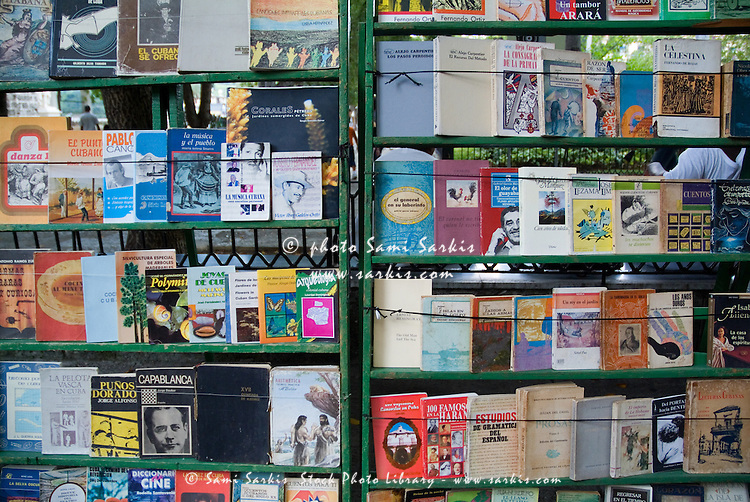 Secondhand Spanish books for sale in the street near the Plaza de Armas, Havana, Cuba.