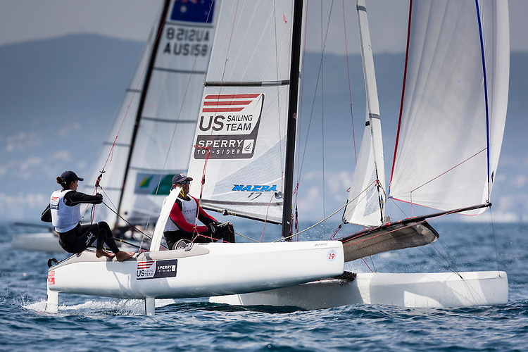20140331, Palma de Mallorca, Spain: SOFIA TROPHY 2014 - 850 sailors from 50 countries compete at the ISAF Sailing World Cup event. Nacra17 - USA031 - Sarah Newberry / John Casey. Photo: Mick Anderson/SAILINGPIX