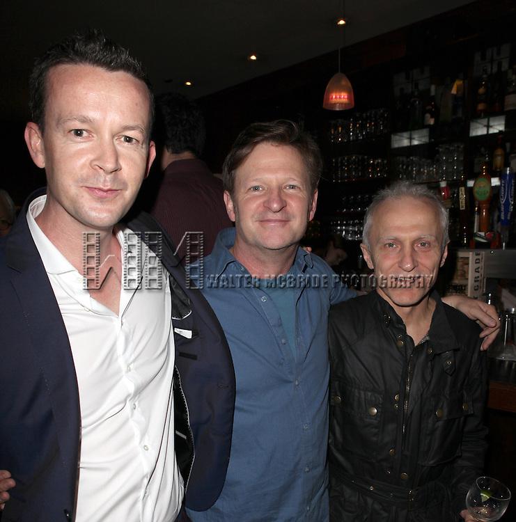Enda Walsh, Andy Taylor & David Patrick Kelly.attending the New York Drama Critics' Circle Awards at Angus McIndoe in New York City on 5/14/2012.