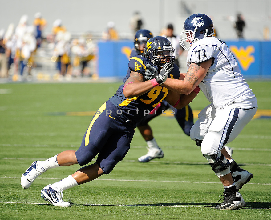 JULIAN MILLER, of the West Virginia Mountaineers, in action during West Virginia's game against the UConn Huskies on October 8, 2011 at Milan Puskar Stadium in Morgantown, WV. West Virginia beat UConn 43-16.