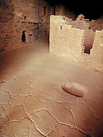 Floor of Anasazi Indian cliff dwelling.  Ancient history, prehistoric, native culture, aboriginal, Native American. Colorado USA Mesa Verde National Park.