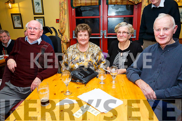 Enjoying the Kerry Coral Union Fundraiser Table Quiz at Stokers Lodge on Friday were John Bailey, Moira Bailey, Mary Keane and Willie Keane