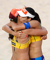 Brazil's Taiana Lima, left, and Talita Antunes celebrate at the Beach Volleyball World Tour Grand Slam, Foro Italico, Rome, 22 June 2013. Brazil defeated Germany 2-1.<br /> UPDATE IMAGES PRESS/Isabella Bonotto