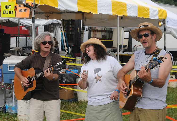 Musicians performing along the Midway at the Falcon Ridge Folk Festival, held on Dodd's Farm in Hillsdale, NY on Saturday, August 1, 2015. Photo by Jim Peppler. Copyright Jim Peppler 2015.