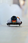 18 November 2005: Julia Eichhorn of Germany slides down the track to take 16th place at the 2005 FIBT World Cup Women's Skeleton competition at the Verizon Sports Complex, in Lake Placid, NY. Mandatory Photo Credit: Ed Wolfstein.