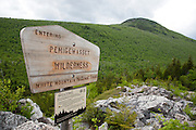 Pemigewasset Wilderness sign on the Zeacliff Trail in the White Mountains, New Hampshire during the summer months. This area was part of the old Zealand Valley Logging Railroad.