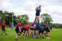 Elliott Stooke of Bath Rugby wins the ball at a lineout against the visiting Dragons team. Bath Rugby pre-season training on August 8, 2018 at Farleigh House in Bath, England. Photo by: Patrick Khachfe / Onside Images