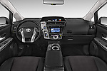 Stock photo of straight dashboard view of a 2015 Toyota Grand Prius+ 5 Door Mini Van