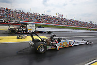 May 10, 2013; Commerce, GA, USA: NHRA top fuel dragster driver Brandon Bernstein during qualifying for the Southern Nationals at Atlanta Dragway. Mandatory Credit: Mark J. Rebilas-