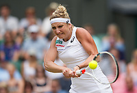 Timea Bacsinszky (19) of Switzerland in action during her defeat by Agnieszka Radwanska (9) of Poland in their Ladies' Singles Third Round Match today - Radwanska def Bacsinszky 3-6, 6-4, 6-1<br /> <br /> Photographer Ashley Western/CameraSport<br /> <br /> Wimbledon Lawn Tennis Championships - Day 6 - Saturday 8th July 2017 -  All England Lawn Tennis and Croquet Club - Wimbledon - London - England<br /> <br /> World Copyright &not;&copy; 2017 CameraSport. All rights reserved. 43 Linden Ave. Countesthorpe. Leicester. England. LE8 5PG - Tel: +44 (0) 116 277 4147 - admin@camerasport.com - www.camerasport.com