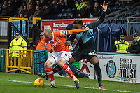 Gozie Ugwu of Wycombe Wanderers (right) battles with Scott Cuthbert of Luton Town (left) during the Sky Bet League 2 match between Wycombe Wanderers and Luton Town at Adams Park, High Wycombe, England on 6 February 2016. Photo by Claudia Nako.