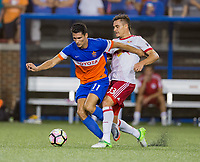 Cincinnati, OH - Tuesday August 15, 2017: Danni Konig, Aaron Long   during a 2017 U.S. Open Cup game between FC Cincinnati vs New York Red Bulls at Nippert Stadium.