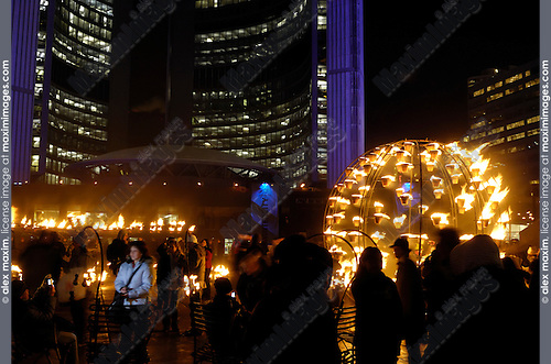 Night of Fire by Cie Carabosse Wintercity Festival in Toronto Canada Nathan Phillips Square Jan 25 2008