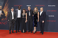 Ron Howard, Omar Sy, Felicity Jones, Tom Hanks, Rita WIlson and Dan Brown attending the &quot;Inferno&quot; premiere held at CineStar, Sony Center, Potsdamer Platz, Berlin, Germany, 10.10.2016. <br /> Photo by Christopher Tamcke/insight media /MediaPunch ***FOR USA ONLY***