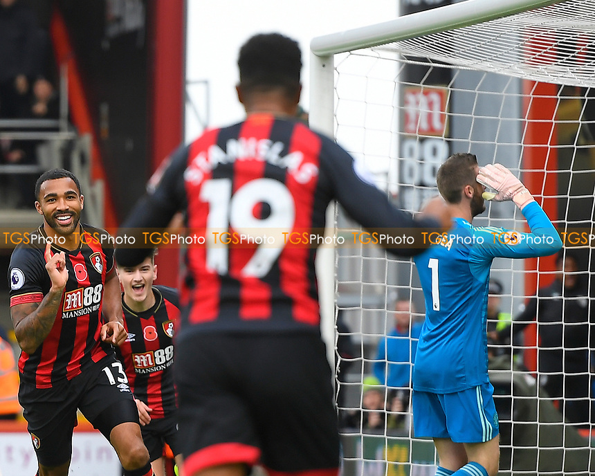 Callum Wilson of AFC Bournemouth left scores and celebrates as Manchester United keeper David De Gea  looks dejected  during AFC Bournemouth vs Manchester United, Premier League Football at the Vitality Stadium on 3rd November 2018