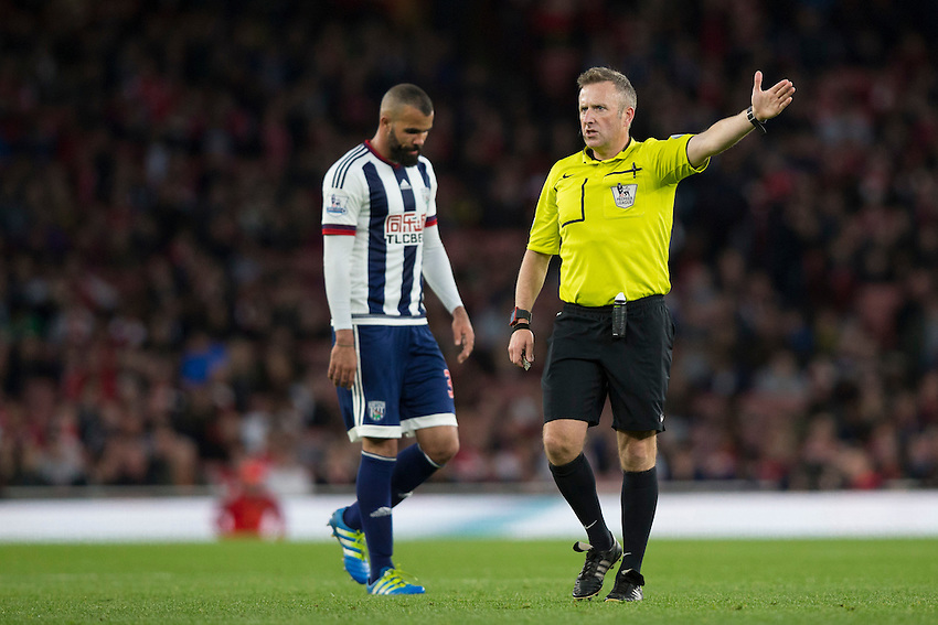 Referee Jon Moss during tonight's match<br /> <br /> Photographer Craig Mercer/CameraSport<br /> <br /> Football - Barclays Premiership - Arsenal v West Bromwich Albion - Thursday 21st April 2016 - Emirates Stadium - London<br /> <br /> &copy; CameraSport - 43 Linden Ave. Countesthorpe. Leicester. England. LE8 5PG - Tel: +44 (0) 116 277 4147 - admin@camerasport.com - www.camerasport.com